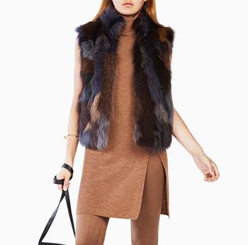 剪绒外套女中长款圆领羊毛皮草马甲背心